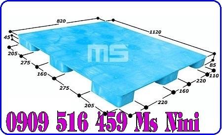 Pallet nhựa màu xanh 1120x820x85mm