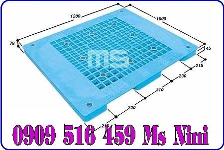 Pallet nhựa màu xanh 1200x1000x78mm | Pallet nhựa Malaisia 1200mm