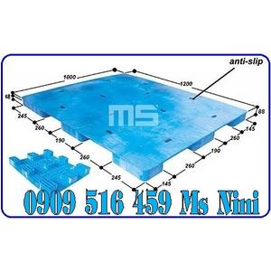 Pallet nhựa màu xanh 1200x1000x88mm | Pallet kê hàng Malaisia 1200x1000x88mm