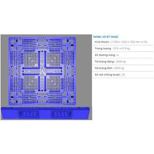 Pallet nhựa 1200x1200x150 màu xanh một mặt 4000kg - Việt Nam