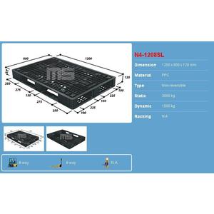 Pallet nhựa 1200x800x120 màu đen một mặt 3000kg - Malaysia