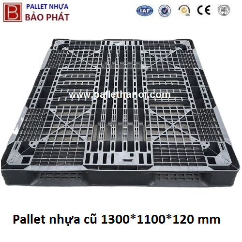 Pallet nhựa cũ KT: 1300x1100x120 mm (Màu Đen)