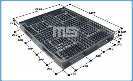 Pallet nhựa 1425*1225*150mm   Pallet nhập khẩu
