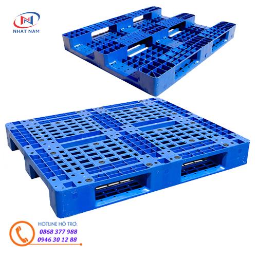 Pallet nhựa 466 là loại pallet nhựa liên khối 1 mặt