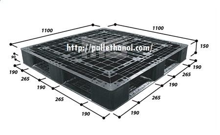 Pallet nhựa cũ KT: 1100x1100x150 mm (Màu Đen)
