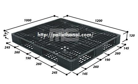 Pallet nhựa cũ KT 1200x1000x120 mm (Màu Đen)