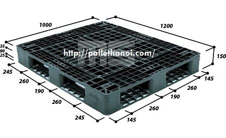 Pallet nhựa cũ KT: 1200x1000x150 mm (Màu Đen)