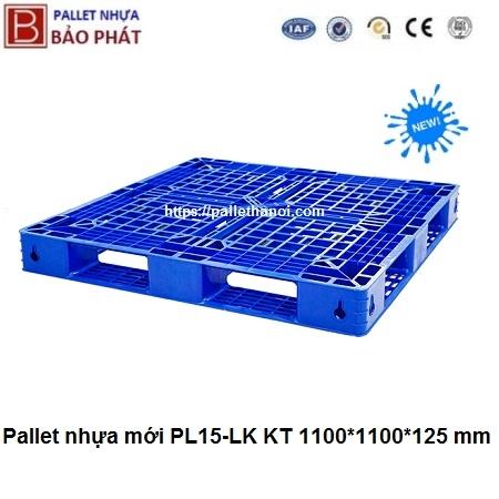 Pallet nhựa mới PL15-LK Xanh (1100*1100*125 mm)