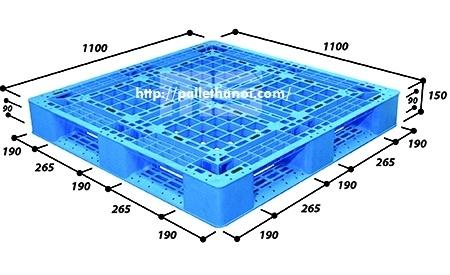 Pallet nhựa cũ KT: 1100x1100x150 mm