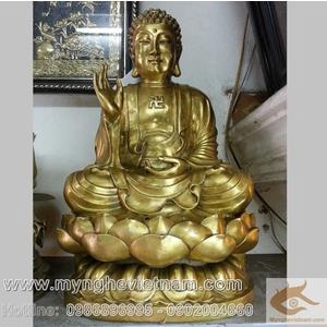 Tượng thích ca mâu ni 60cm được đúc từ đồng vàng nguyên chất
