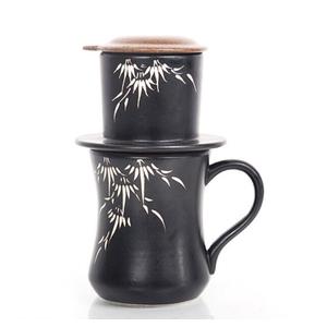 Phin Cà phê Gốm Bát Trang - Họa Tiết Lá Trúc