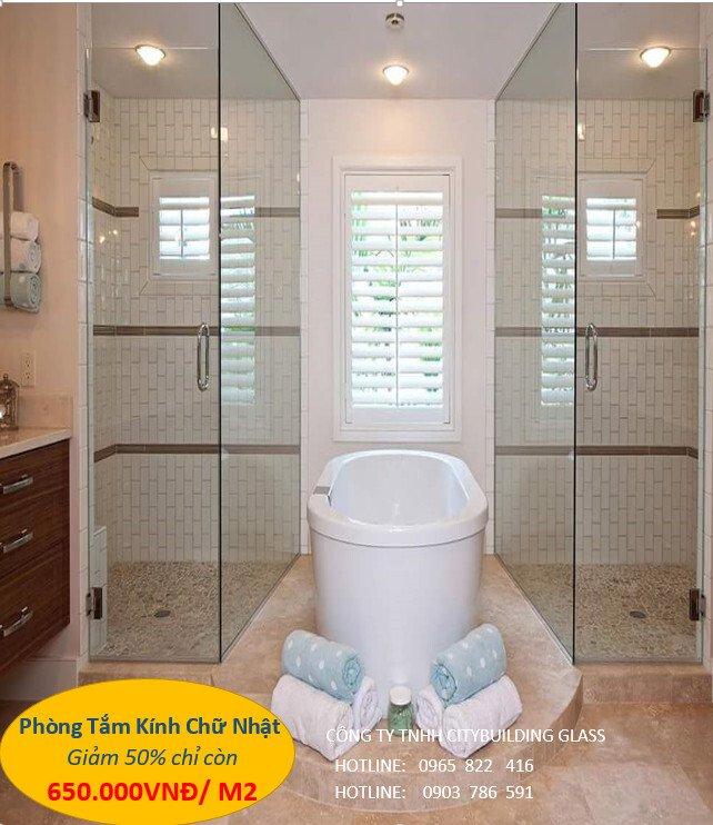 phòng tắm kính hình chữ nhật