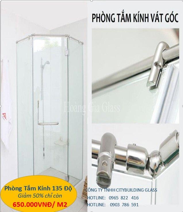 kính phòng tắm 135 độ
