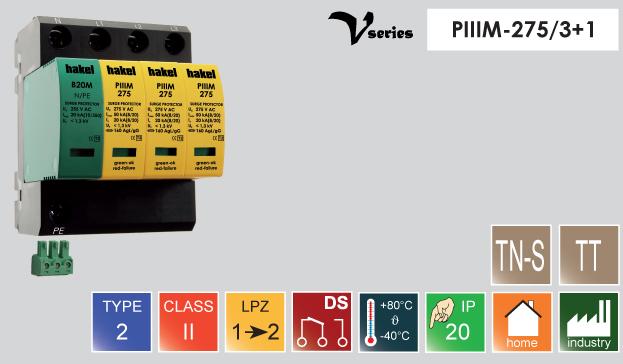 Thiết bị chống sét Hakel PIIIM-275DS/3+1 art 27023