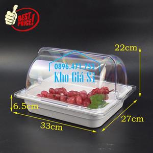 Khay melamine trắng 1/2 chiều cao 6.5cm đựng trái cây