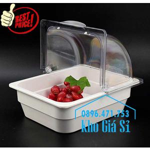 Khay melamine trắng 1/2 chiều cao 10cm đựng salad, rau củ, trái cây tươi