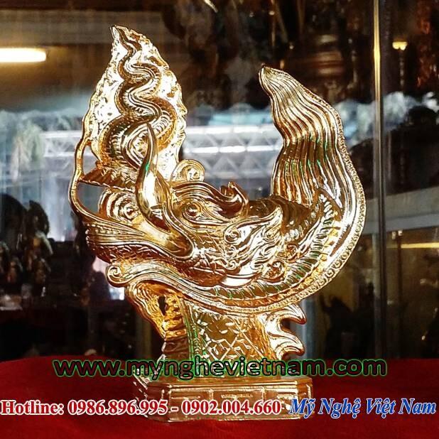 Tượng đầu rồng Lý mạ vàng cao cấp , tượng đúc theo mẫu hoàng thành thăng long, dùng trang trí phong thủy, tặng quà phong thủy, quà tặng lưu niệm, quà tặng văn hóa dành cho người nước ngoài