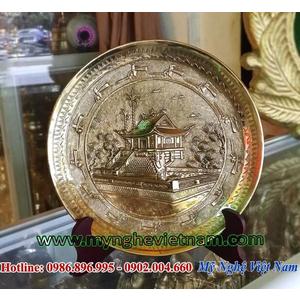 Đĩa đồng quà tặng hình chùa 1 cột hà nội đk 20cm