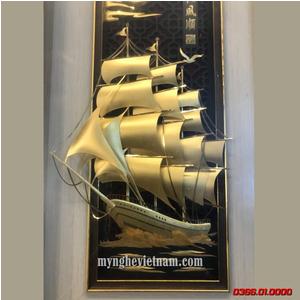 Tranh thuyền buồm dát vàng 24k 30x55cm quà tặng mỹ nghệ cao cấp