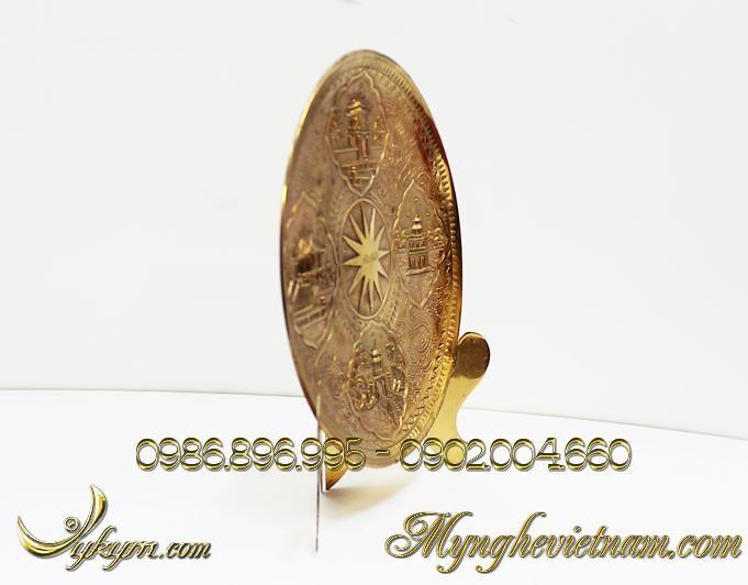 Đĩa đồng quà tặng văn hóa Hà Nội , chạm đồng cảnh chùa 1 cột, khuê văn các văn miếu quốc tử giám, tháp rùa hồ gươm, đền ngọc sơn