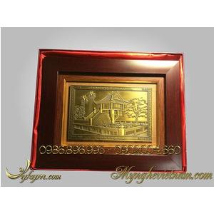 Tranh quà tặng chùa 1 cột bằng đồng 20x26cm