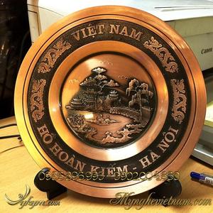 Đĩa đồng quà tặng đến Ngọc Sơn hồ gươm đk 18cm