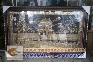 Quà tặng lưu niệm tranh đồng, tranh trống đồng, tranh khuê văn các,chùa 1 cột