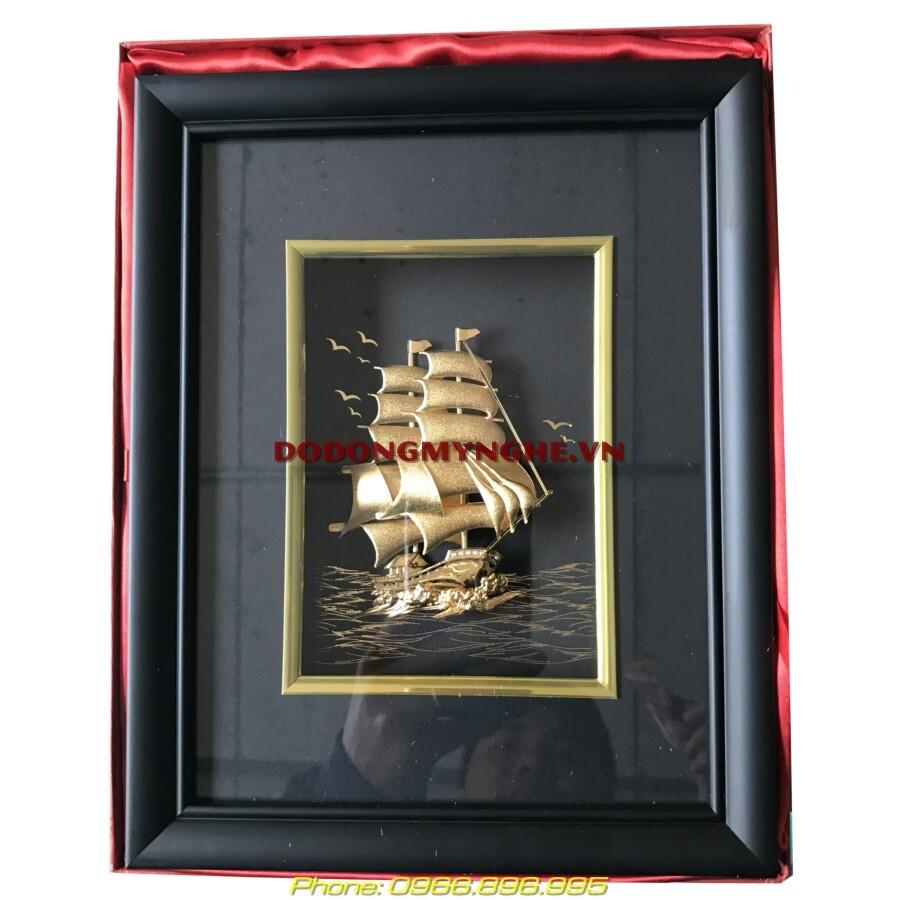 Tranh thuận buồm xuôi gió thuyền dát vàng 24k cao cấp
