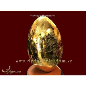 Quả trứng tam tinh phúc lộc thọ bằng đồng cao 45cm