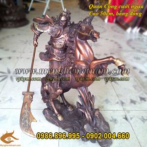 Tượng quan vân trường cưỡi ngựa cầm đao cao 50cm
