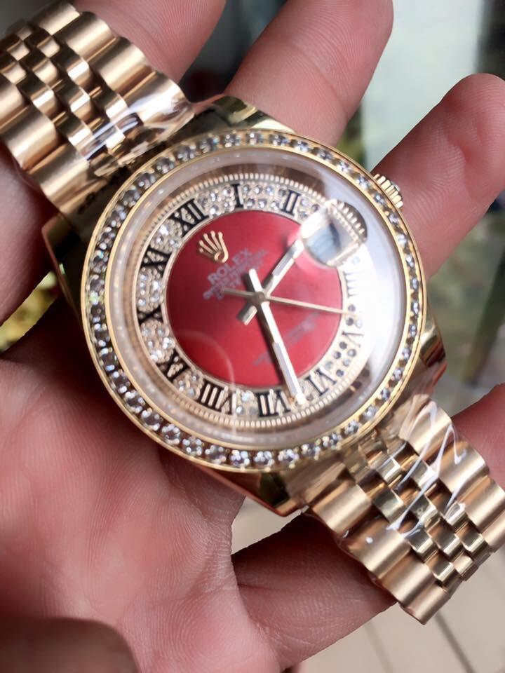 Rolex Oyster Perpetual Date 18K Gold Dial Red diamond Bezel Men's Watch Quazt