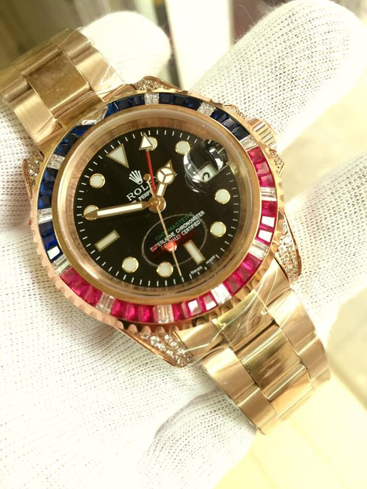 Rolex GMT-Master II Automatic 18k Rose Gold 116758 Men's Watch