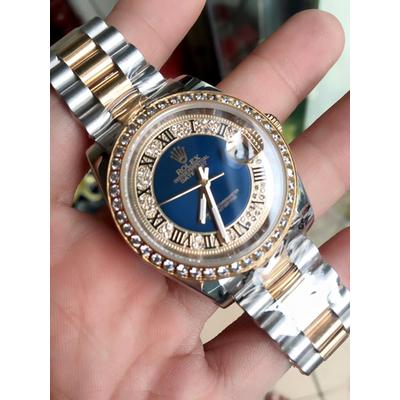Rolex Oyster Perpetual 18K Semi Gold Dial blue diamond Bezel Men's Watch Quazt