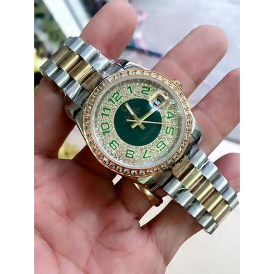 Rolex Oyster Perpetual 18K Semi Gold Dial Pupil Diamond Bezel Men's Watch Quazt