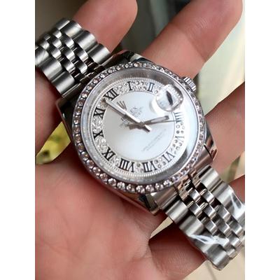 Rolex Oyster Perpetual Date 18K Silver Dial White diamond Bezel Men's Watch Quazt