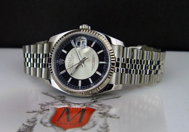 Rolex Oyster Perpetual Datejust Black & Silver Dial Stainless Steel 36mm 116234
