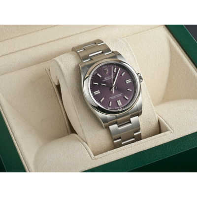 Rolex Oyster Perpetual Red Grape Dial Stainless Steel 36mm 114200