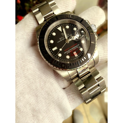 Rolex Yacht-Master 116655 Quazt Black Dial Silver Stainless Steel Men's Watch