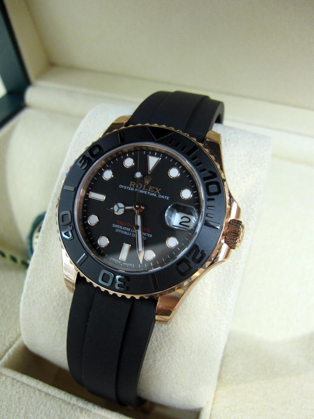 Rolex Yacht-Master 116655 Automatic Black Dial 18kt Everose Gold Black Rubber Strap Unisex Watch