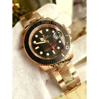 Rolex Yacht-Master 116655 Automatic Black Dial 18kt Everose Gold Stainless Steel Men's Watch