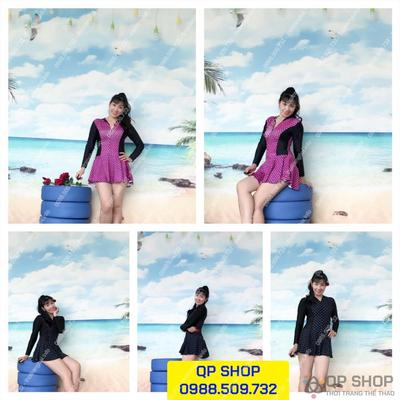 Set đồ bơi nữ 1 mảnh có váy loại ngắn tay NN0010