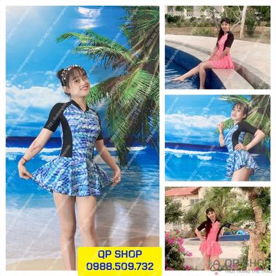 Set đồ bơi nữ có váy loại ngắn tay NN008