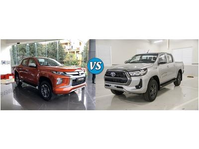 So sánh bán tải Toyota Hilux và Mitsubishi Triton bản 1 cầu tự động