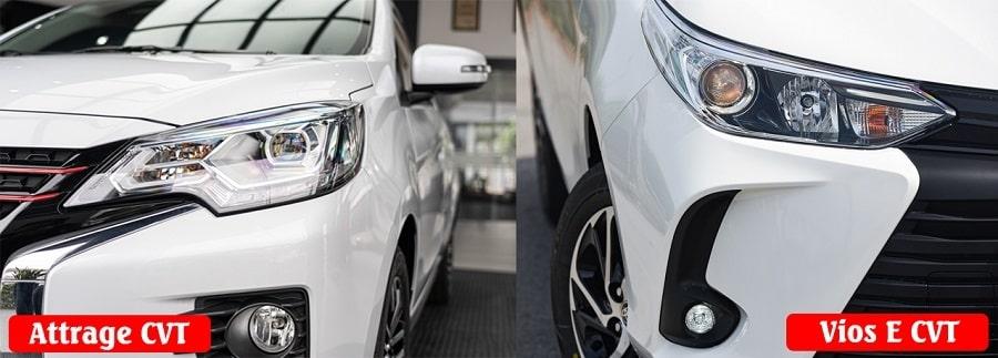 So sánh cụm đèn của Attrage CVT Premium và Toyota Vios E CVT