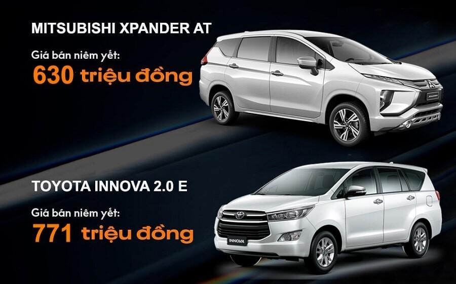 So sánh giá xe Xpander tự động và innova e số sàn