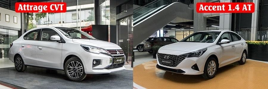 So sánh ngoại thất Attrage CVT Premium và Hyundai Accent 1.4 AT tiêu chuẩn
