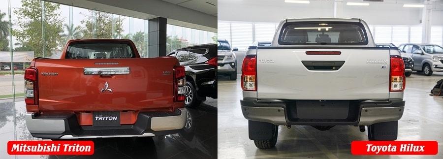 So sánh ngoại thất xe bán tải Triton và Hilux 1 cầu tự động