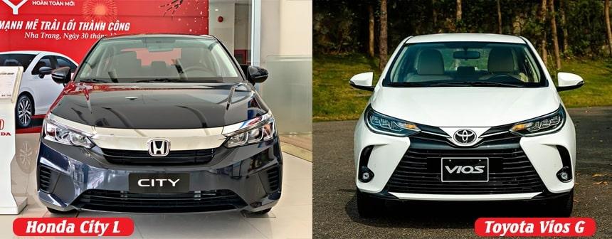 So sánh ngoại thất xe Vios G và Honda City bản L