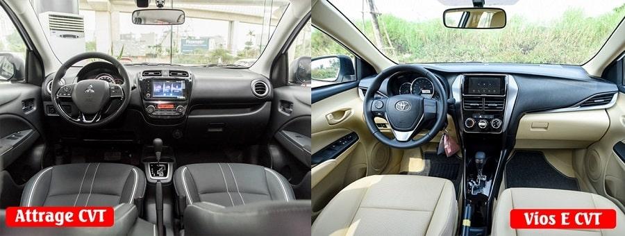 So sánh nội thất Attrage CVT Premium và Toyota Vios E CVT