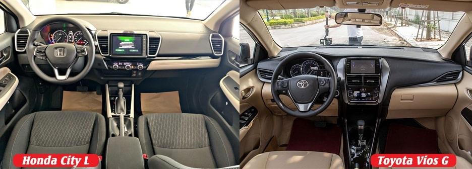 So sánh nội thất Honda City L và Toyota Vios G